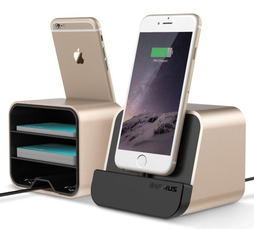 Verus i-Depot Shine Gold Mount + Charge + Storage Cradle για Apple & Android Συσκευές (στηρίξτε, φορτίστε, αποθηκεύστε!)