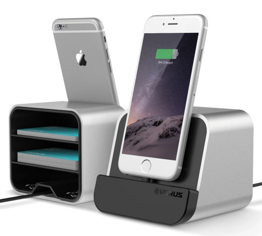 Verus i-Depot Shine Silver Mount + Charge + Storage Cradle για Apple & Android Συσκευές (στηρίξτε, φορτίστε, αποθηκεύστε!)