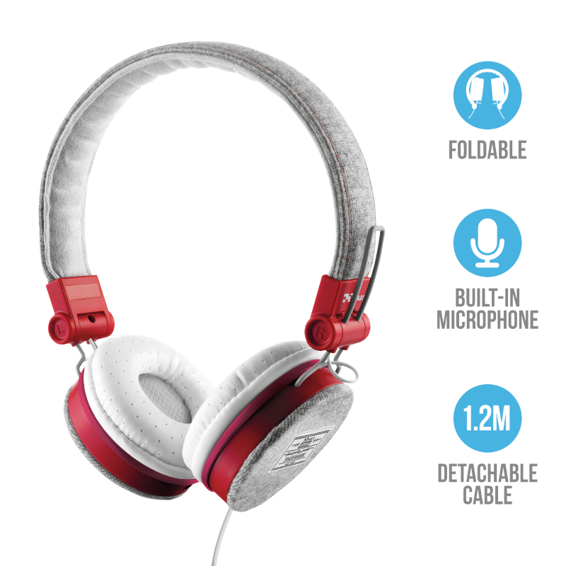 Trust Fyber 20073 On-Ear Stereo Headphones | Music & Phone Calls | Fashionable Design | Foldable Earcaps