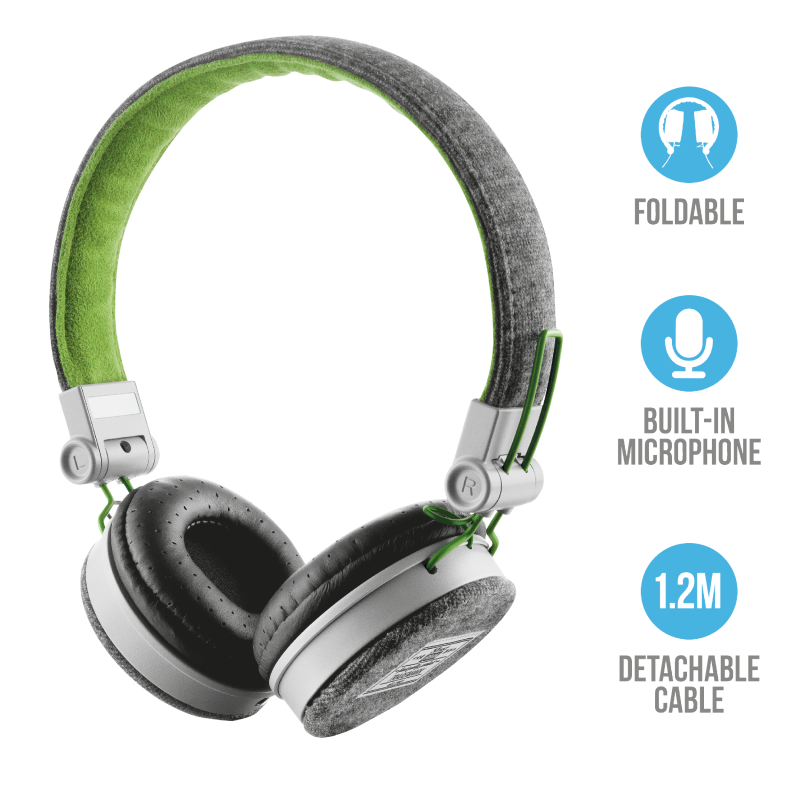 Trust Fyber 20080 On-Ear Stereo Headphones | Music & Phone Calls | Fashionable Design | Foldable Earcaps
