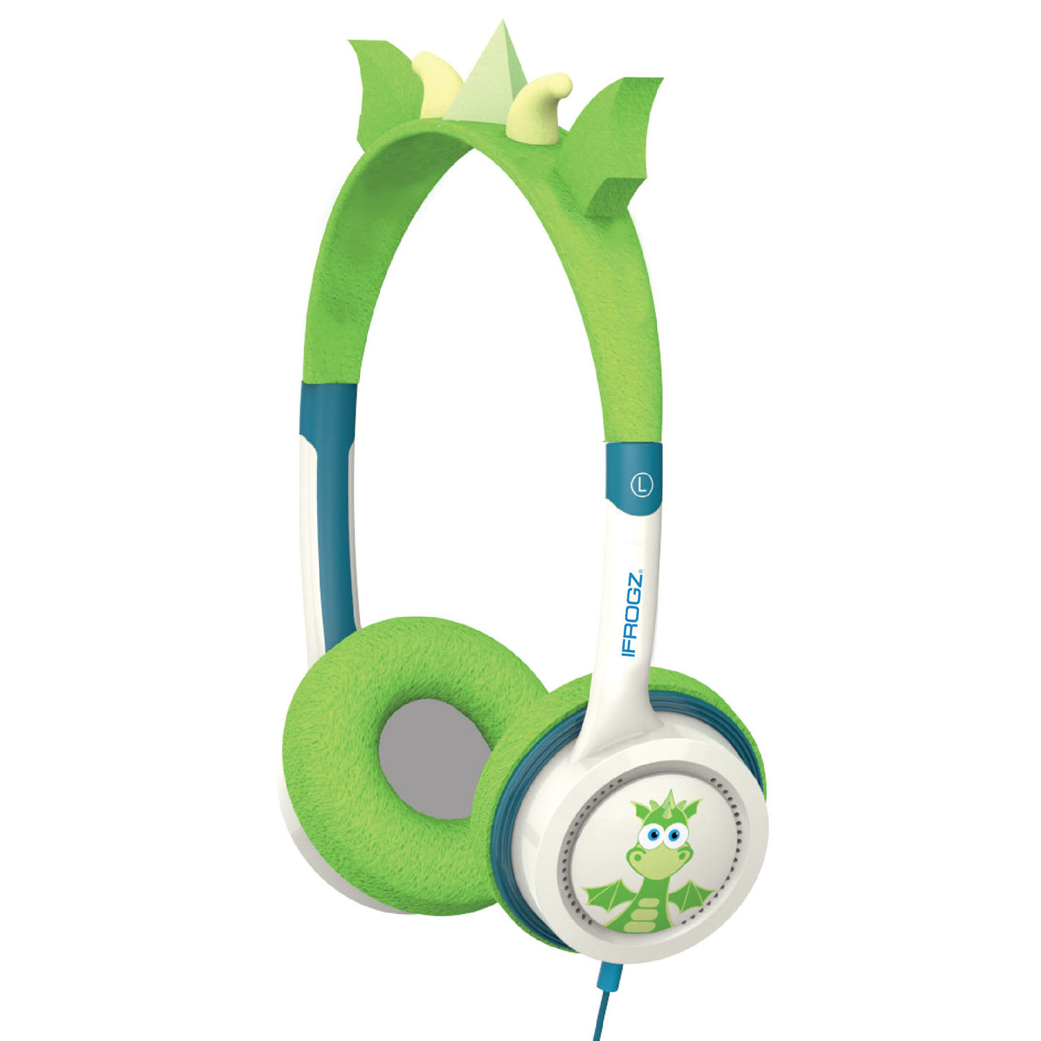 iFrogz by ZAGG Little Rockerz Costume Headphones Green Dragon: Kid-Friendly Volume Limiting Headphones