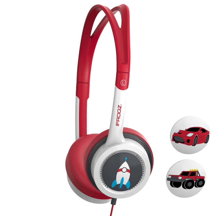 iFrogz by ZAGG Little Rockerz Headphones Rocketship/Truck/Car: Kid-Friendly Volume Limiting Headphones