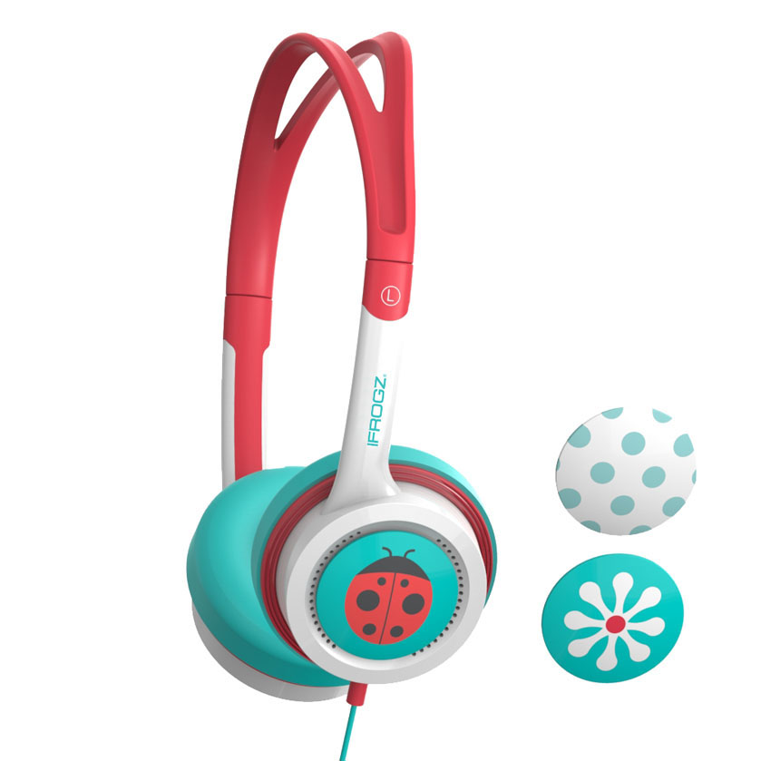 iFrogz by ZAGG Little Rockerz Headphones Flower/Ladybug/Dots: Kid-Friendly Volume Limiting Headphones