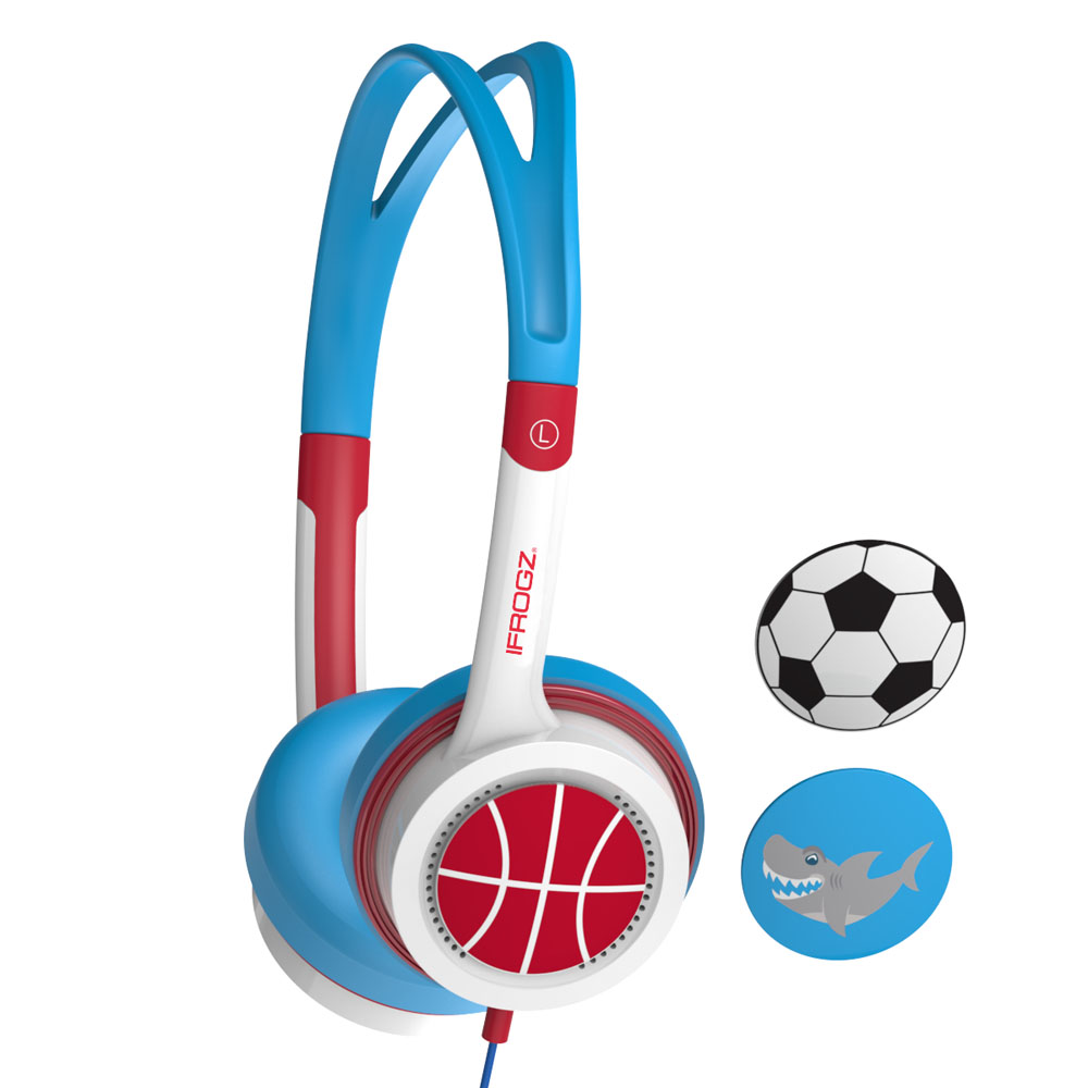 iFrogz by ZAGG Little Rockerz Headphones Shark/Soccer/Basketball: Kid-Friendly Volume Limiting Headphones