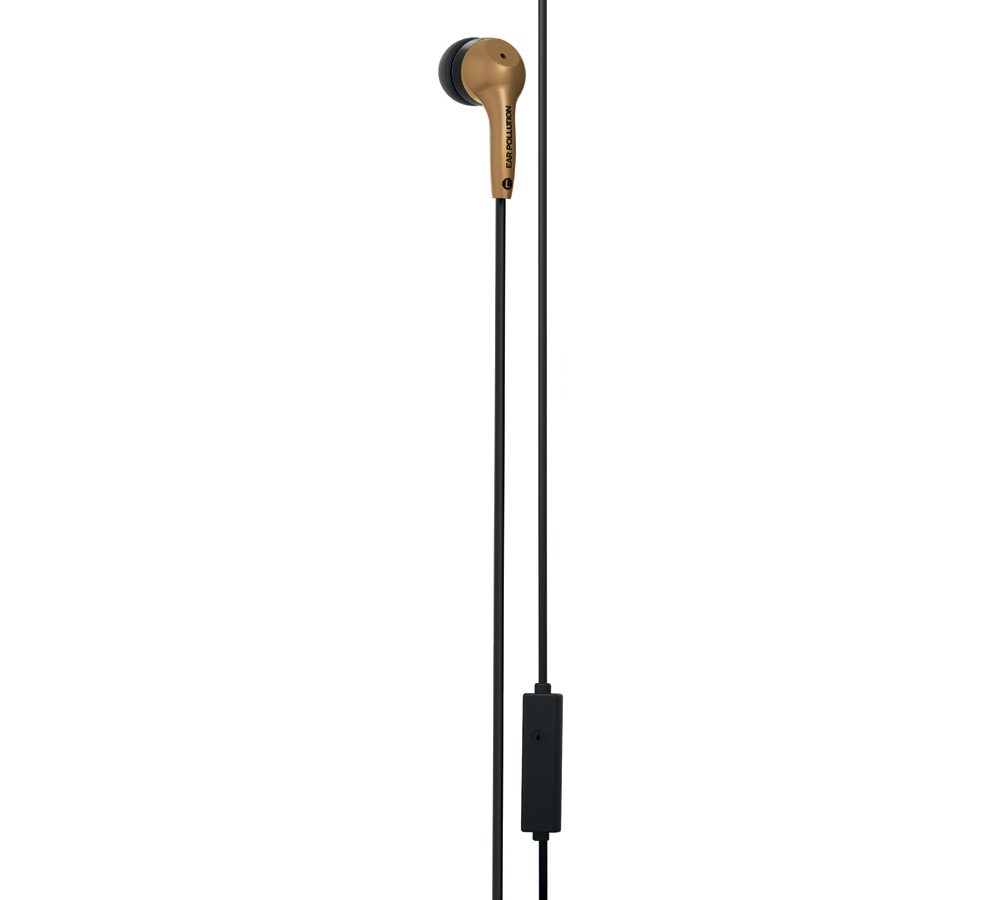 iFrogz Ear Pollution Bolt Plus Gold: In-Ear Stereo Headset & Hands-Free + One-Button Remote (Music & Call Control)