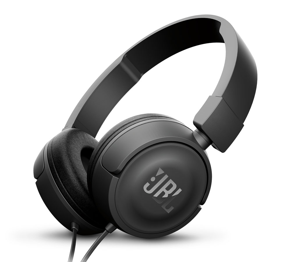 JBL T450 Black On-Ear Headphones + Pure Bass Sound + Mic/Remote (κλήσεις & μουσική με Flat καλώδιο)