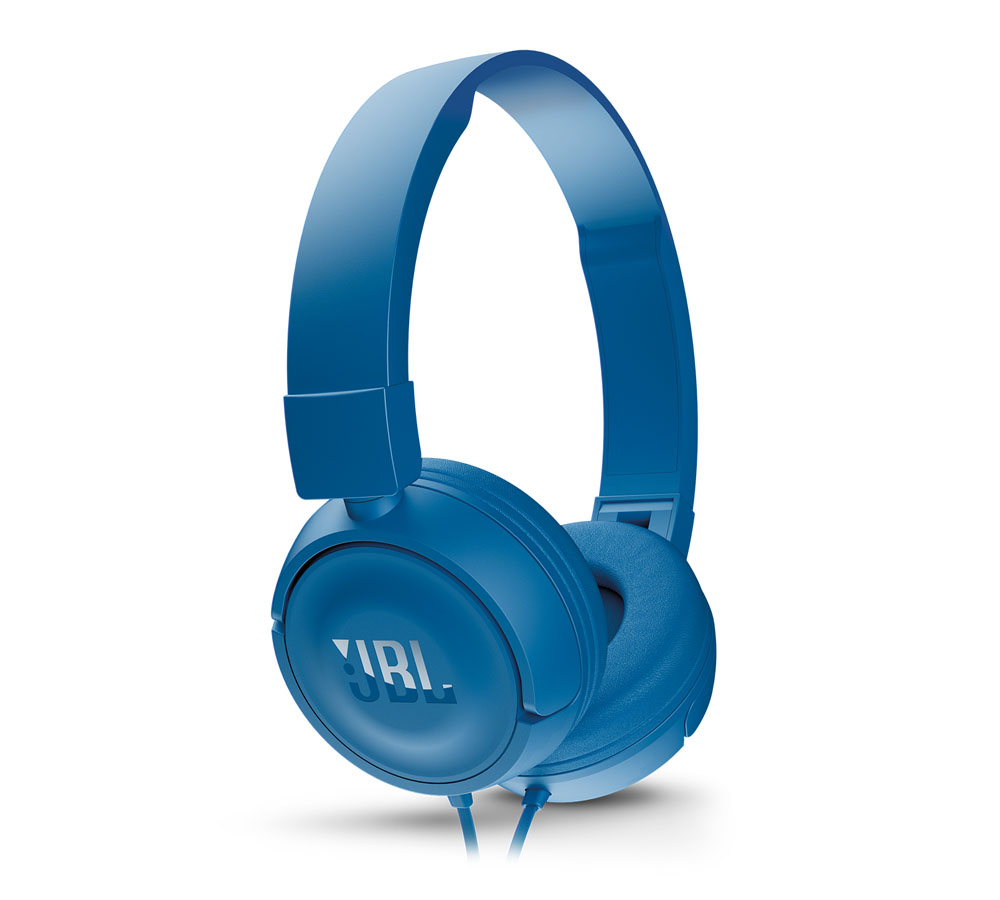 JBL T450 Blue On-Ear Headphones + Pure Bass Sound + Mic/Remote (κλήσεις & μουσική με Flat καλώδιο)