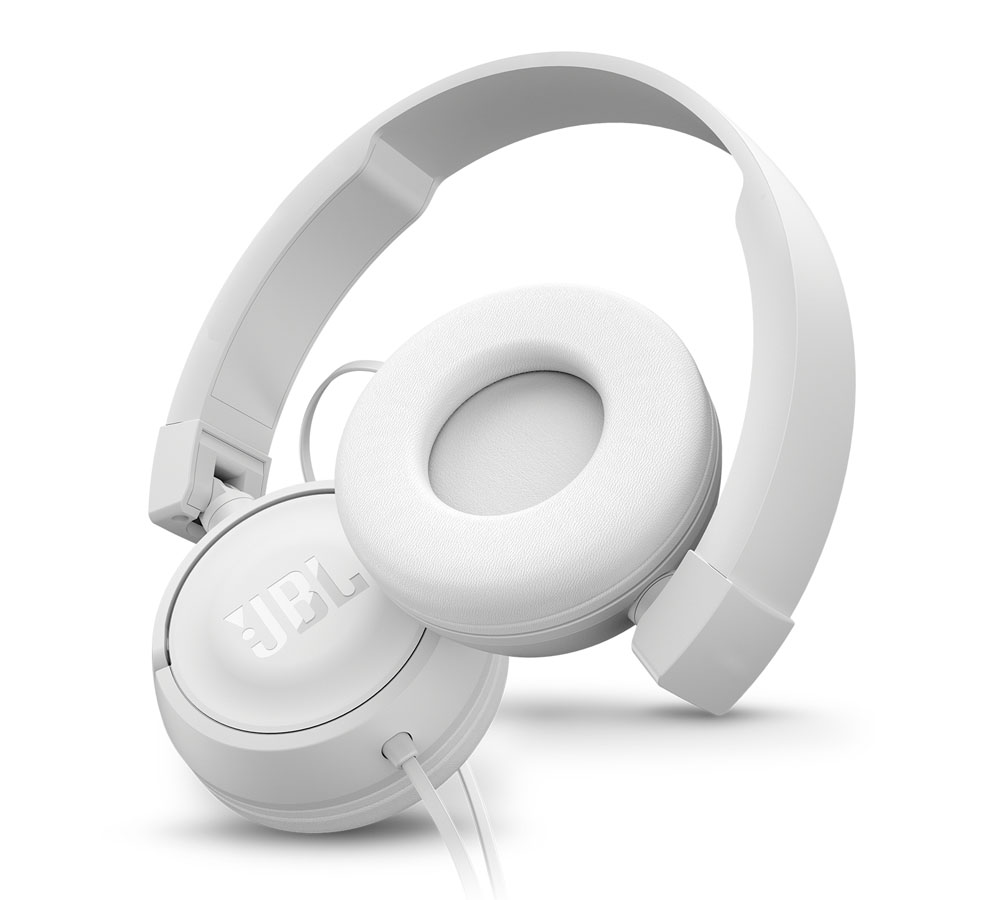 JBL T450 White On-Ear Headphones + Pure Bass Sound + Mic/Remote (κλήσεις & μουσική με Flat καλώδιο)