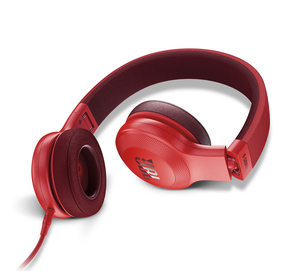 JBL E35 Red On-Ear Headphones + Signature Sound + Mic/Remote (κλήσεις & μουσική με Fabric καλώδιο)