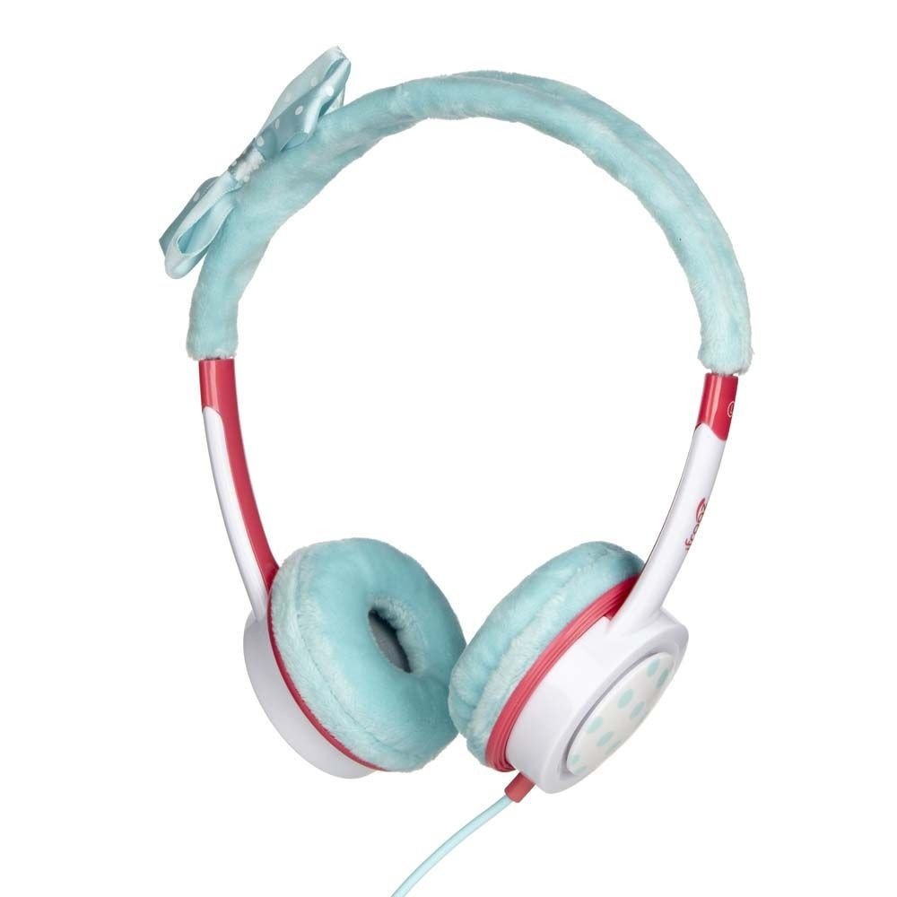 iFrogz by ZAGG Little Rockerz Costume Headphones Teal Bow: Kid-Friendly Volume Limiting Headphones | Dress up Your Kids' Music!