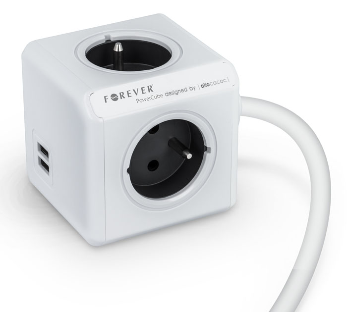 Forever Power Cube 2x USB Charger + 4x AC Sockets (Τροφοδοτικό ρεύματος με 4 Schuko + 2 θύρες USB για Tablets & Smartphones)