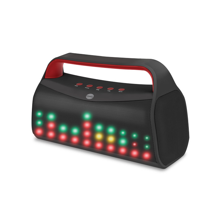 Forever BS-610 Black Bluetooth Speaker + Speakerphone + microSD Slot + USB Stick + Line-in + FM Radio + LED Party Lights