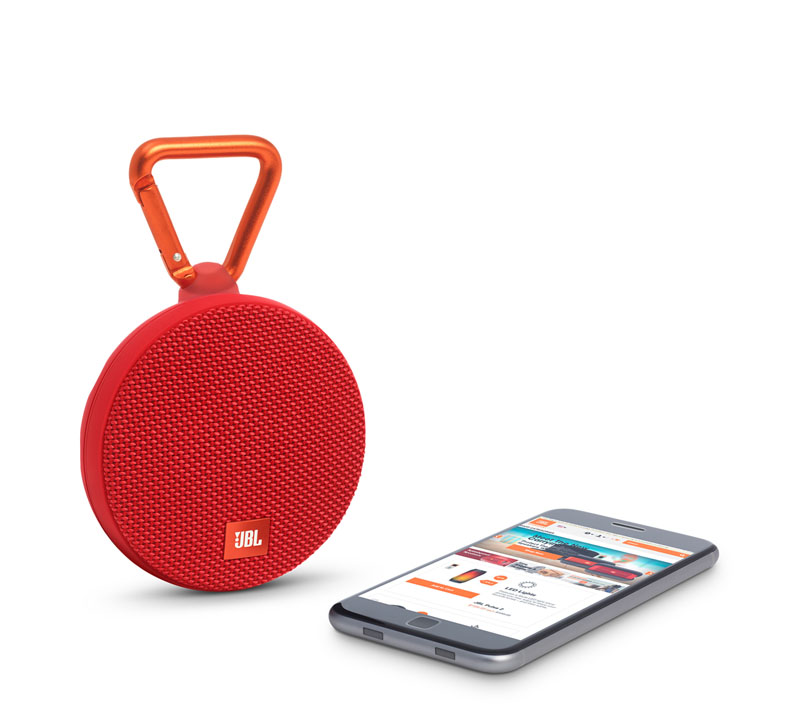 JBL Clip 2 Red Waterproof IPX7 Ultra Portable Bluetooth Speaker & Handsfree (Ηχείο & Ανοιχτή συνομιλία + Γάντζος)