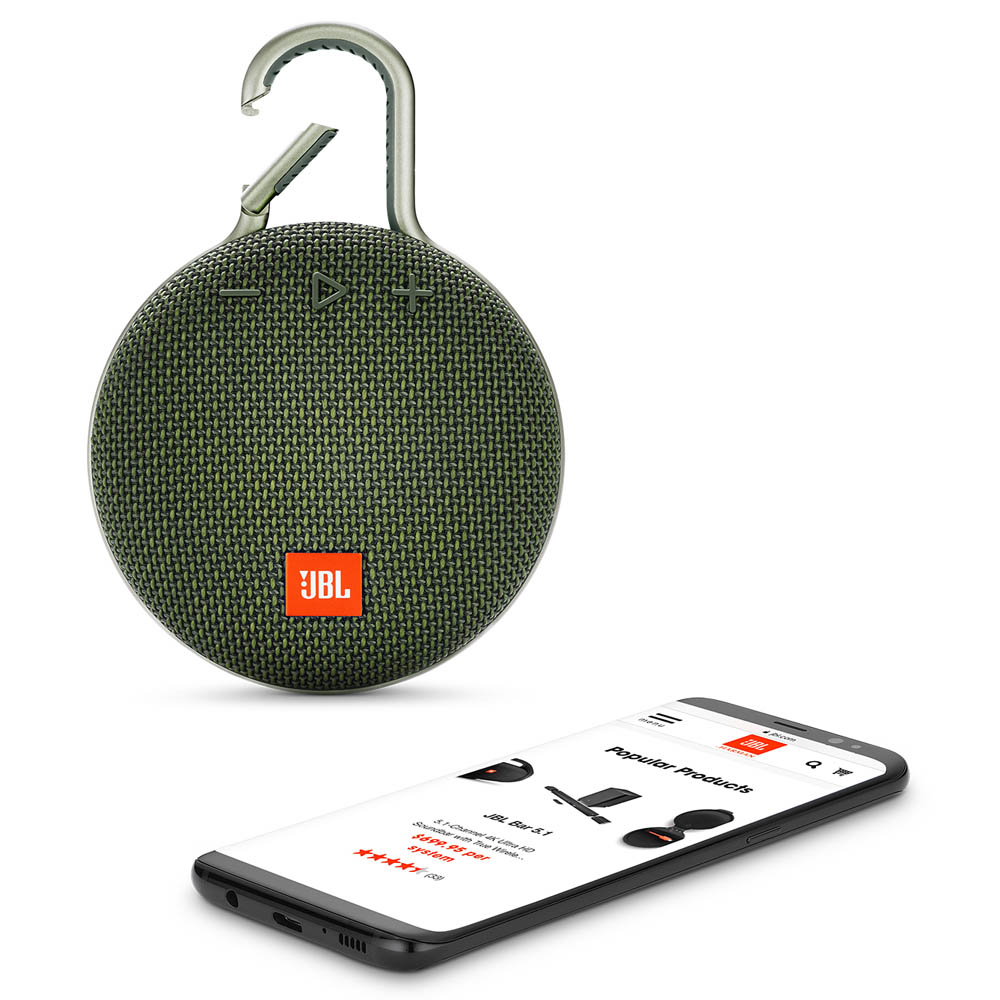 JBL Clip 3 Forest Green Waterproof IPX7 Ultra Portable Bluetooth Speaker & Handsfree (Ηχείο & Ανοιχτή συνομιλία + Γάντζος)