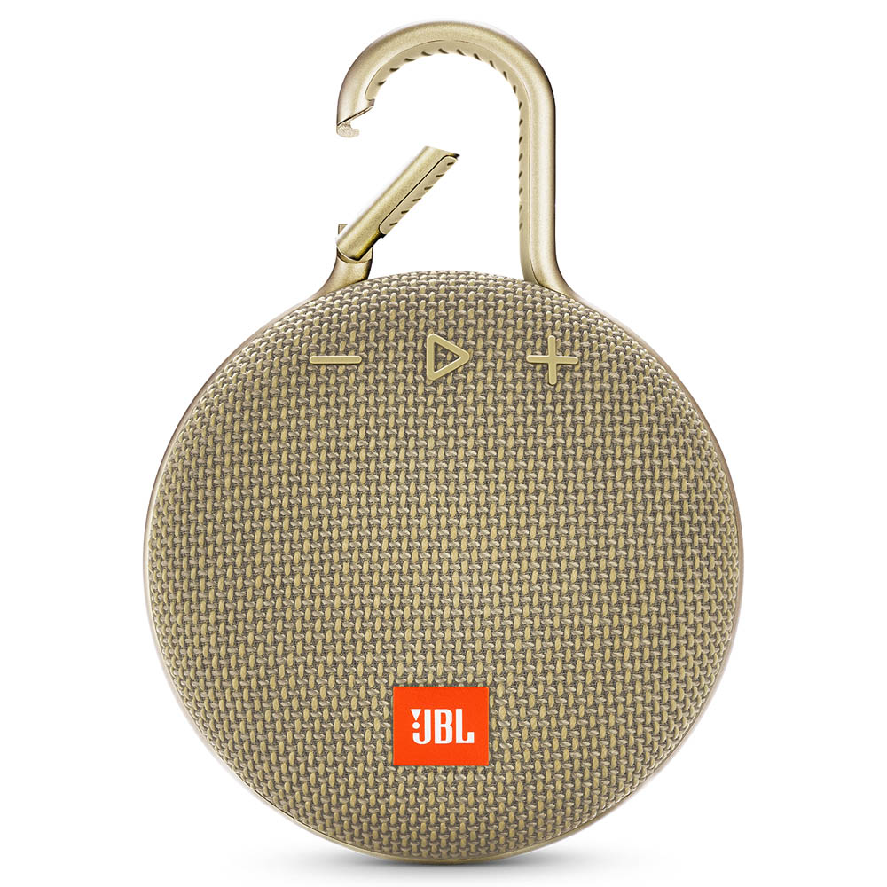 JBL Clip 3 Desert Sand Waterproof IPX7 Ultra Portable Bluetooth Speaker & Handsfree (Ηχείο & Ανοιχτή συνομιλία + Γάντζος)