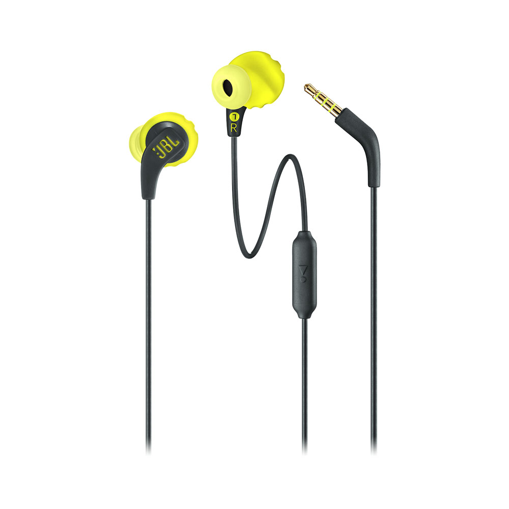JBL Endurance RUN Yellow | Sweatproof Wired In-Ear Sport Headphones (TwistLock + FlexSoft + Magnetic Buds)