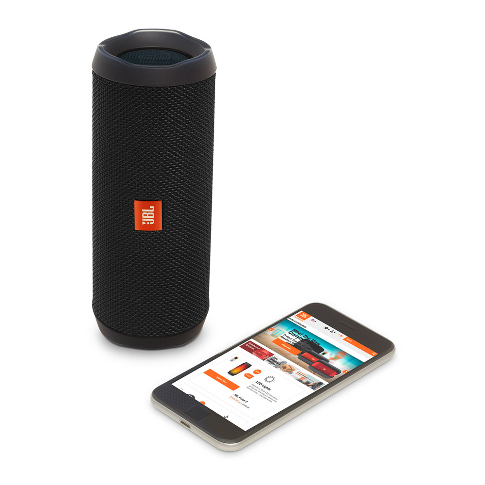 JBL Flip 4 Black Portable Bluetooth Speaker & Handsfree + Line-in (Ηχείο & Ανοιχτή συνομιλία για κλήσεις + IPX7 Waterproof)