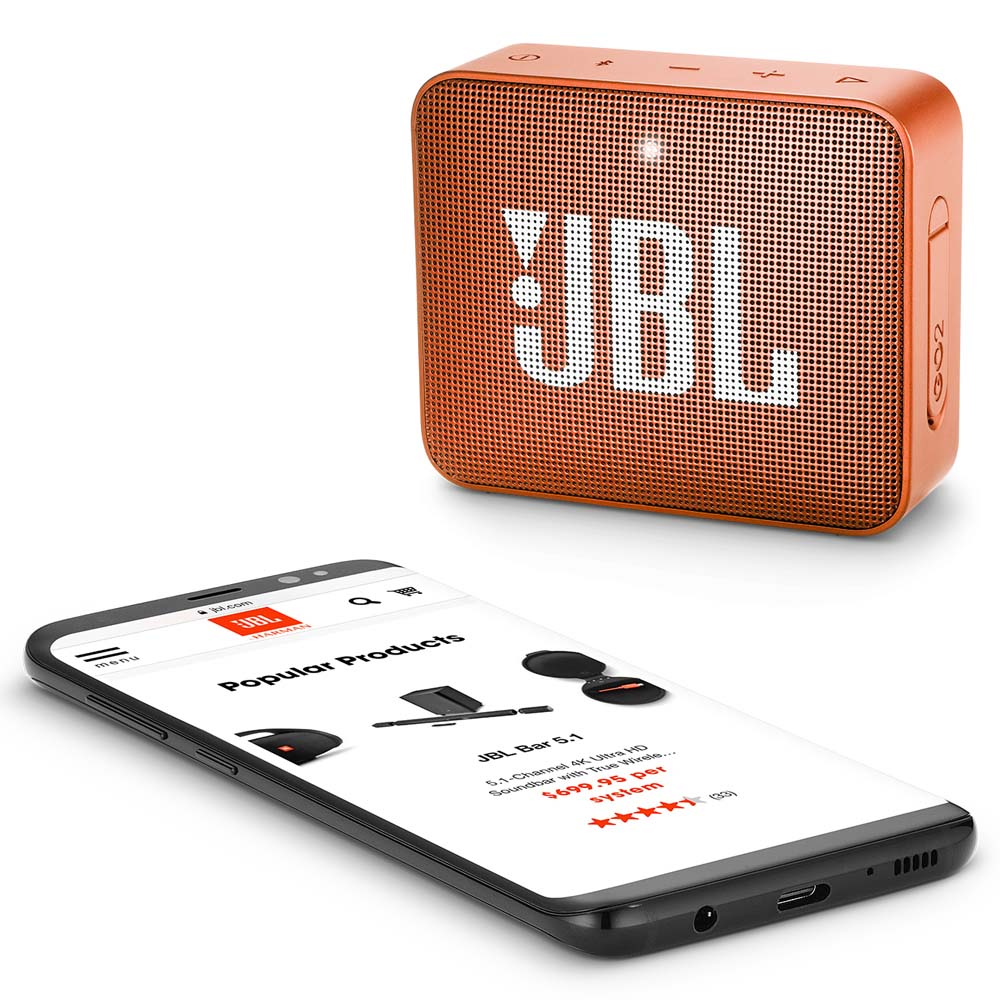 JBL GO 2 Coral Orange Portable Bluetooth Speaker & Handsfree + Line-in + Waterproof (Ηχείο & Ανοιχτή συνομιλία για κλήσεις)