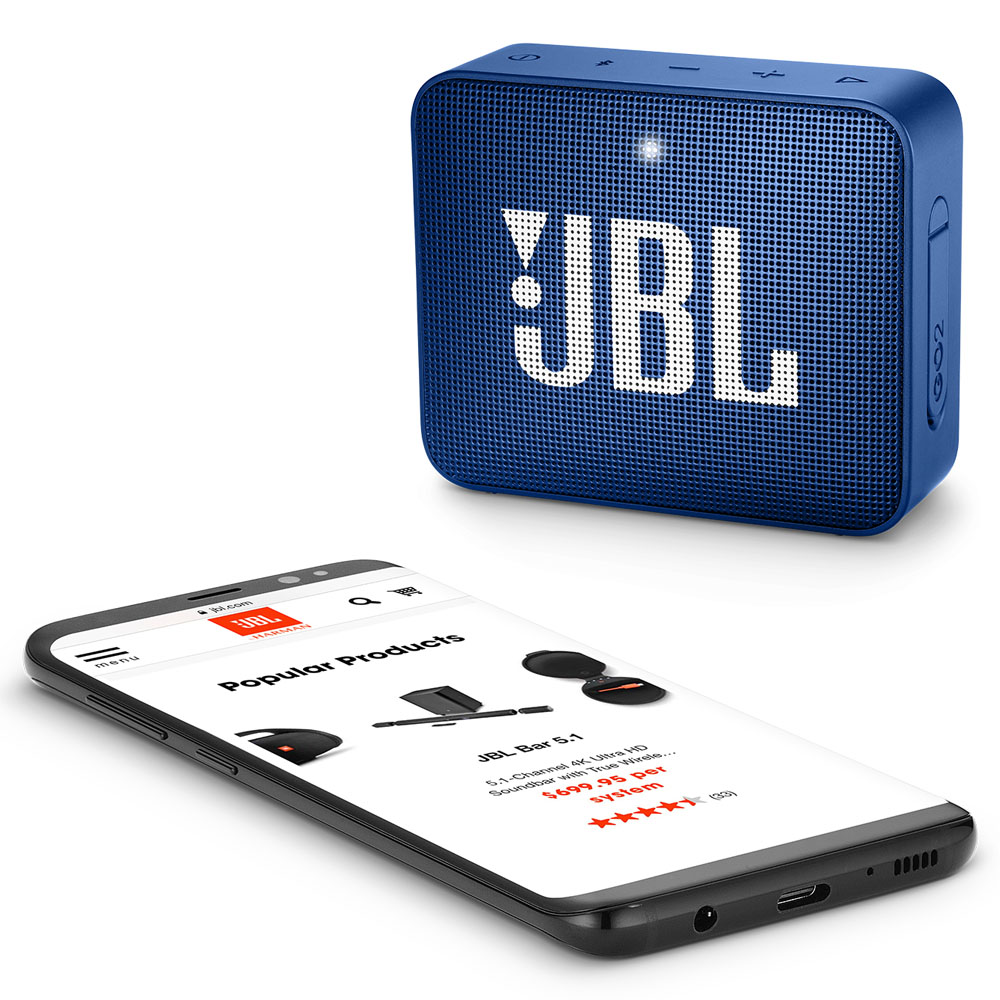 JBL GO 2 Deep Sea Blue Portable Bluetooth Speaker & Handsfree + Line-in + Waterproof (Ηχείο & Ανοιχτή συνομιλία για κλήσεις)
