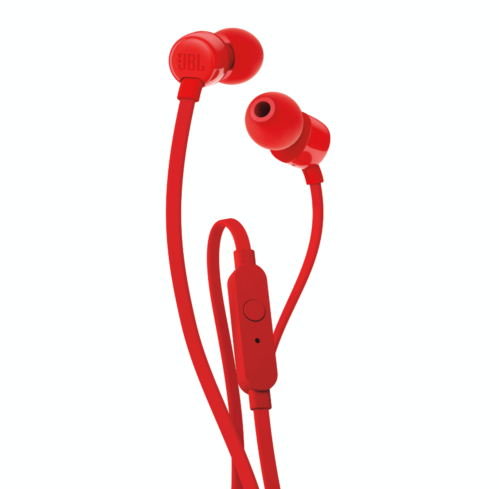 JBL T110 Red In-Ear Headphones + JBL Pure Bass Sound + Single button remote/mic (κλήσεις & μουσική με flat καλώδιο)