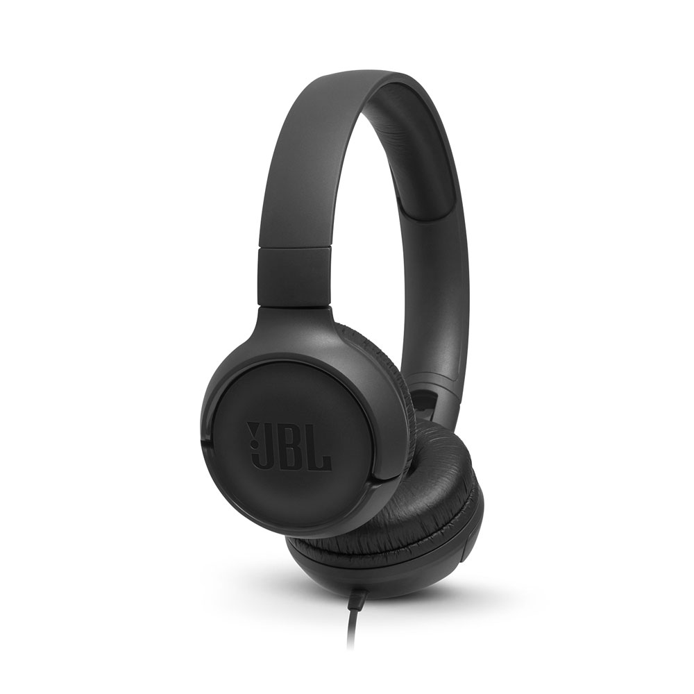JBL Tune 500 Black On-Ear Headphones + Pure Bass Sound + Mic/Remote (κλήσεις & μουσική με Flat καλώδιο)