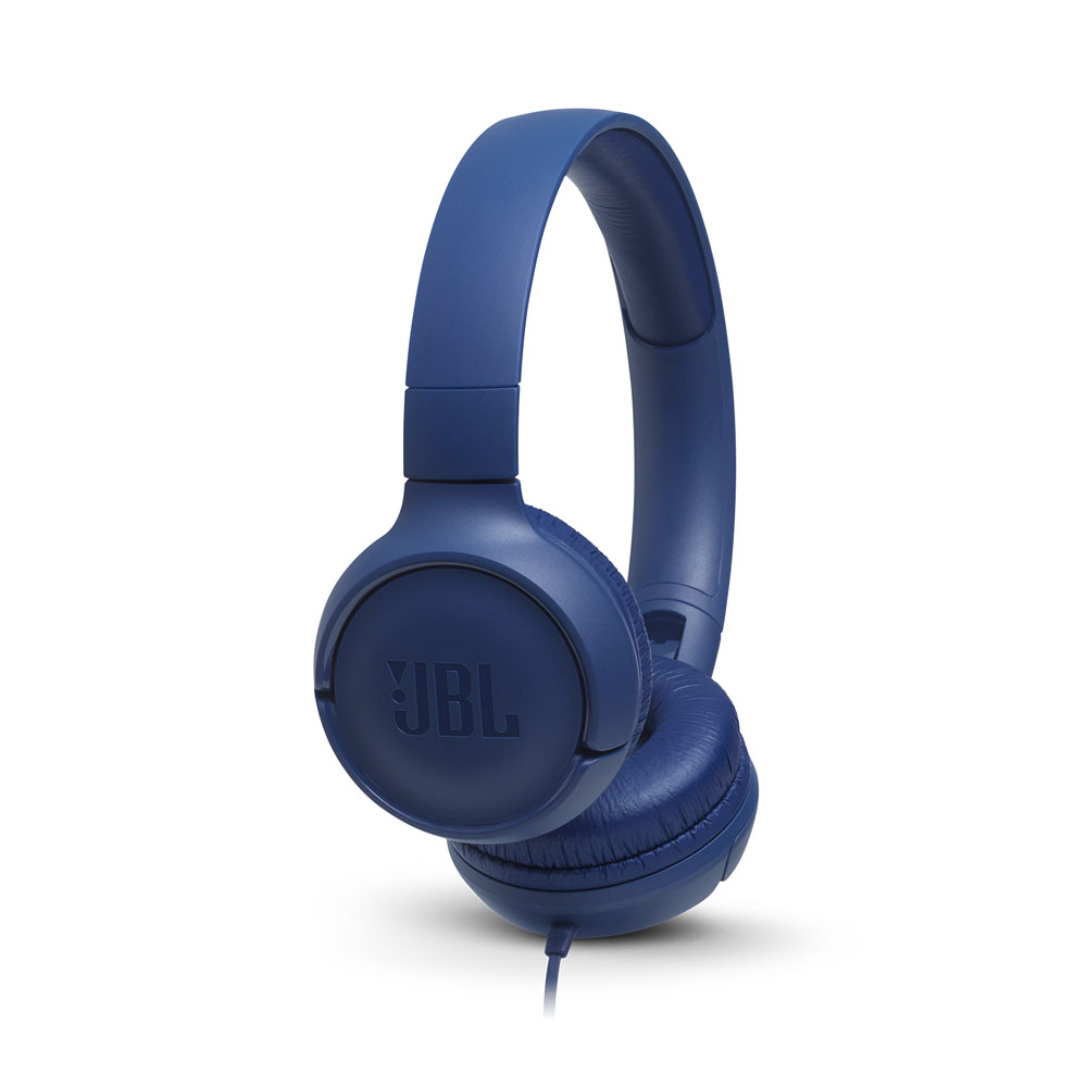 JBL Tune 500 Blue On-Ear Headphones + Pure Bass Sound + Mic/Remote (κλήσεις & μουσική με Flat καλώδιο)