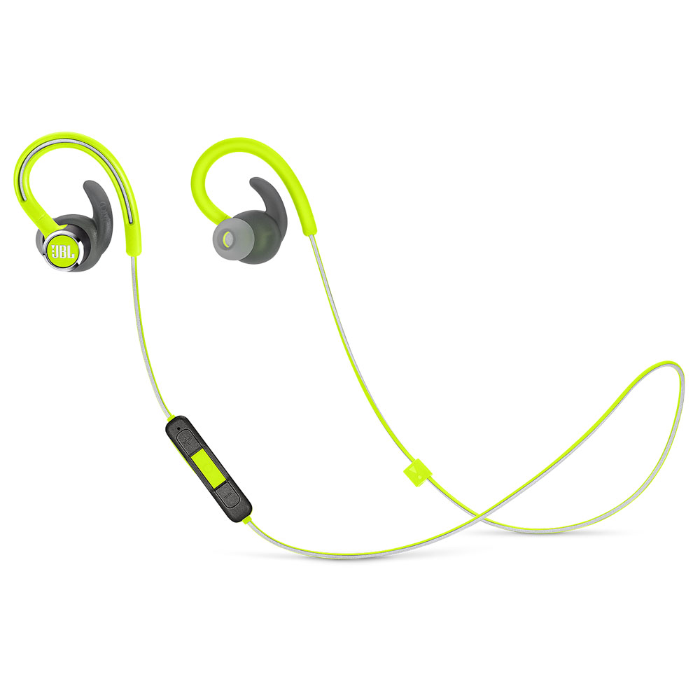 JBL Reflect Contour 2 Lime: Secure Fit & Sweat Proof Wireless Sport Headphones + JBL Signature Sound