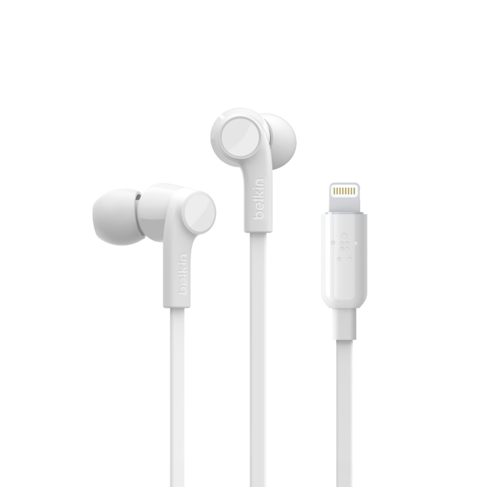 Belkin G3H0001btWHT ROCKSTAR Headphones with Lightning Connector + Flat Cable + MFI Πιστοποίηση + Splashproof