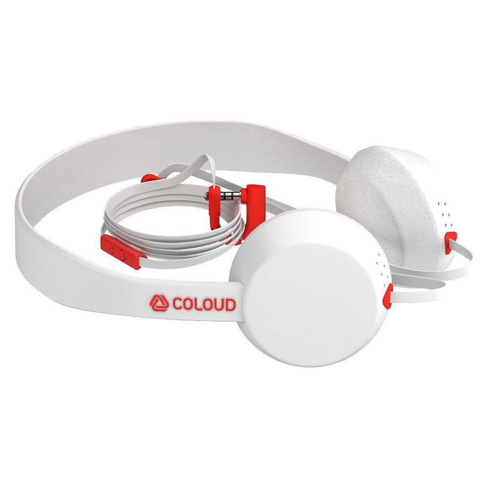 "Coloud ""The Knock"" On-Ear Stereo Headphones White/Red: Κλήσεις & Μουσική με 3 Click Remote + Flat καλώδιο + Εύκαμπτο βύσμα"