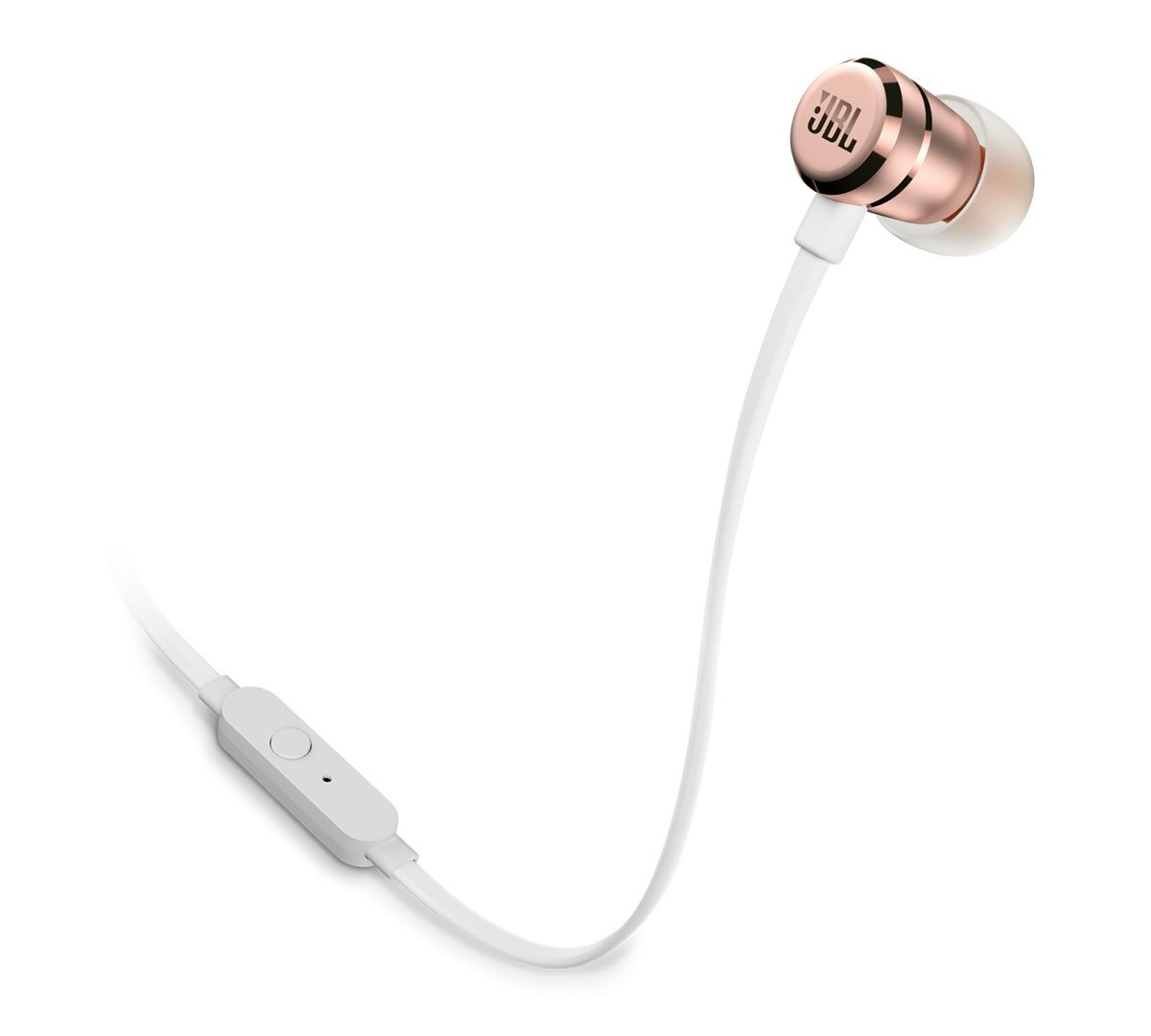 JBL T290 Gold In-Ear Headphones + JBL Pure Bass Sound + Single button remote/mic + Θήκη (κλήσεις & μουσική με flat καλώδιο)