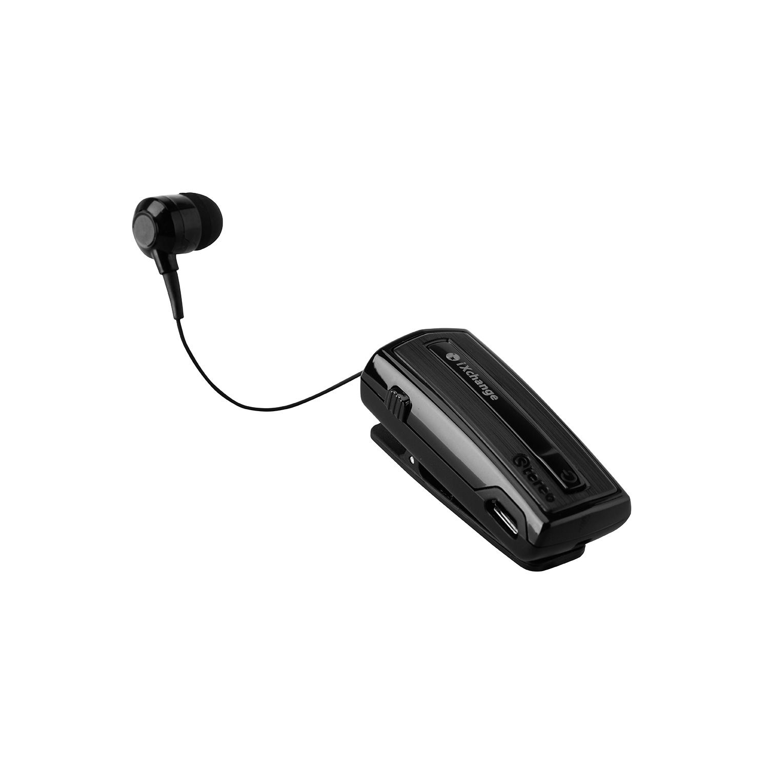iXchange UA-28SE-V Black Stereo Retractable Bluetooth Headset + Multipoint + Δόνηση + Power Display