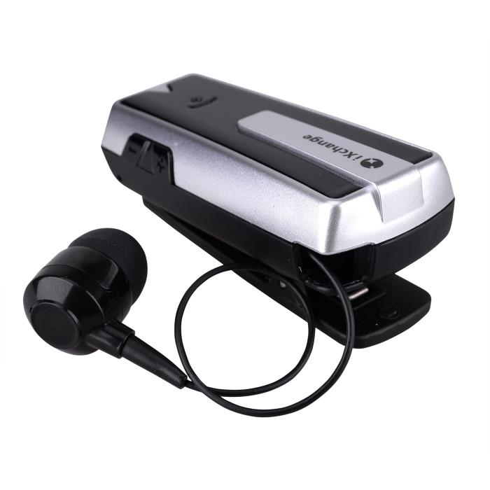 iXchange UA-33ST-B Silver Beeper Retractable Bluetooth Headset + Multipoint + Beeper + Anti-Lost Alert