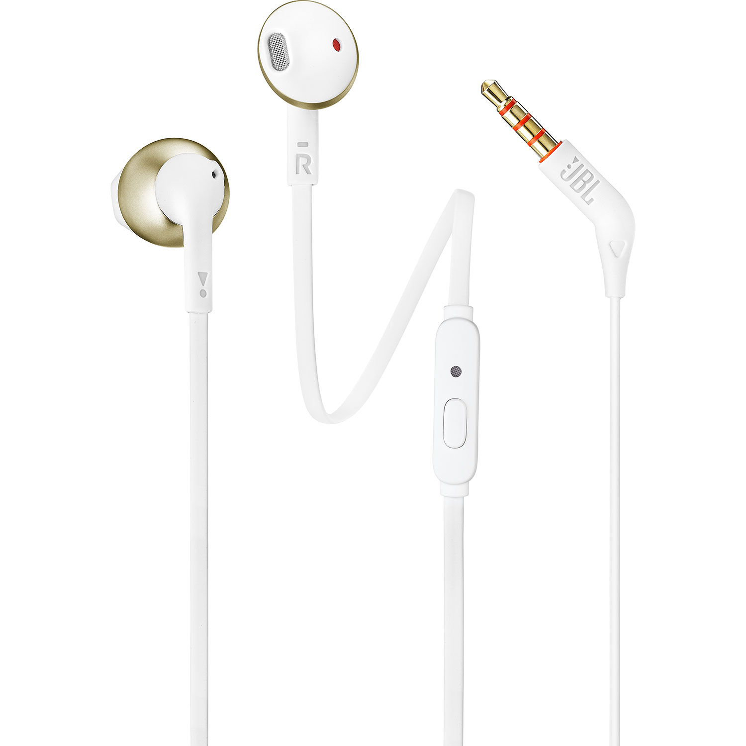 JBL Tune 205 (T205) Champagne Gold Earbud Headphones + JBL Pure Bass Sound + Single button remote/mic