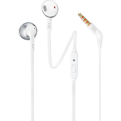 JBL T205 White Chrome Earbud Headphones + JBL Pure Bass Sound + Single button remote/mic (κλήσεις & μουσική με flat καλώδιο)