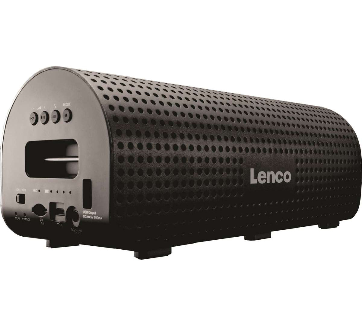 Lenco Grid-7 Black Bluetooth 2.1 Speaker with Powerbank: Ασύρματο Ηχείο & Φορητή Μπαταρία + Line-in + microSD + Speakerphone