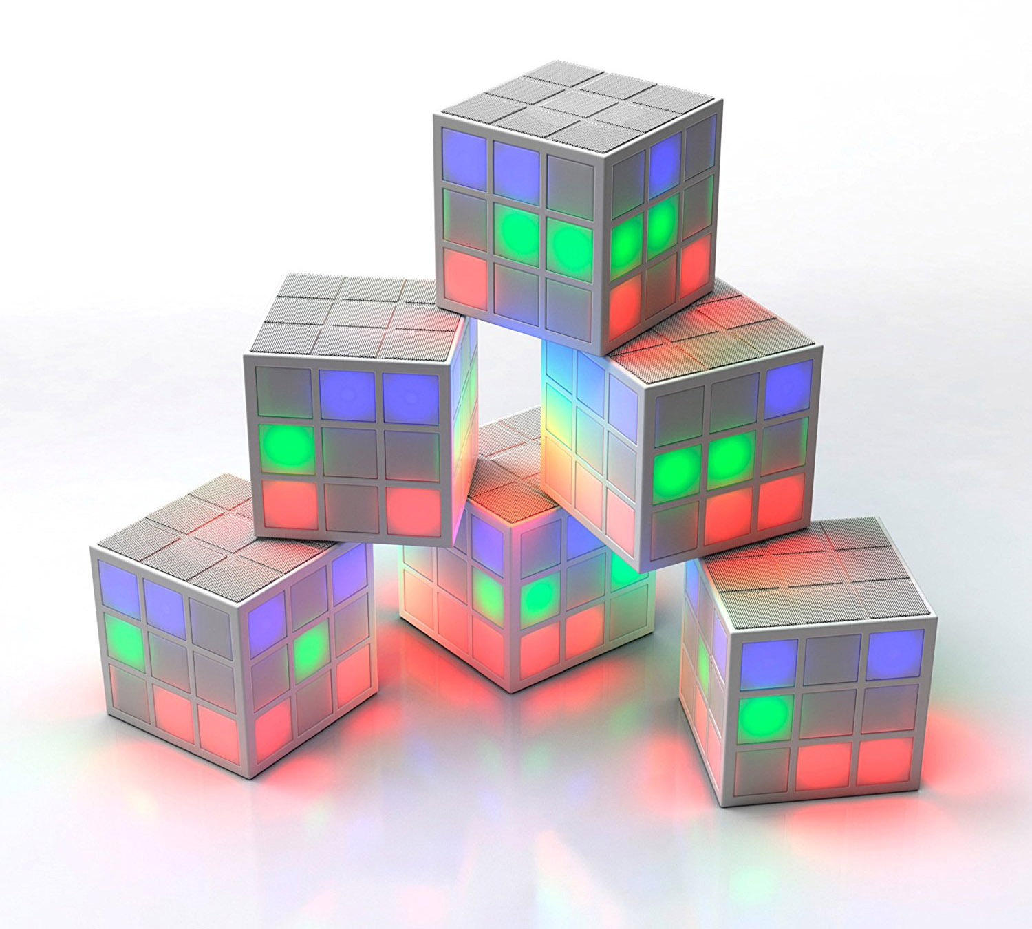 Rubik's SoundCube Bluetooth LED Speaker with Party Lights: Ασύρματο Ηχείο & Φωτορυθμικό με LED + Line-in
