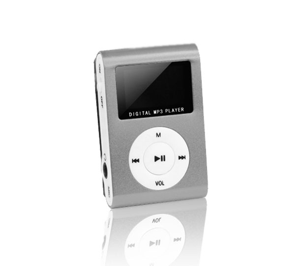 Setty (Ασημί) Mini Fashion Clip MP3 Player & microSD Slot + LCD + FM Radio + Earphones