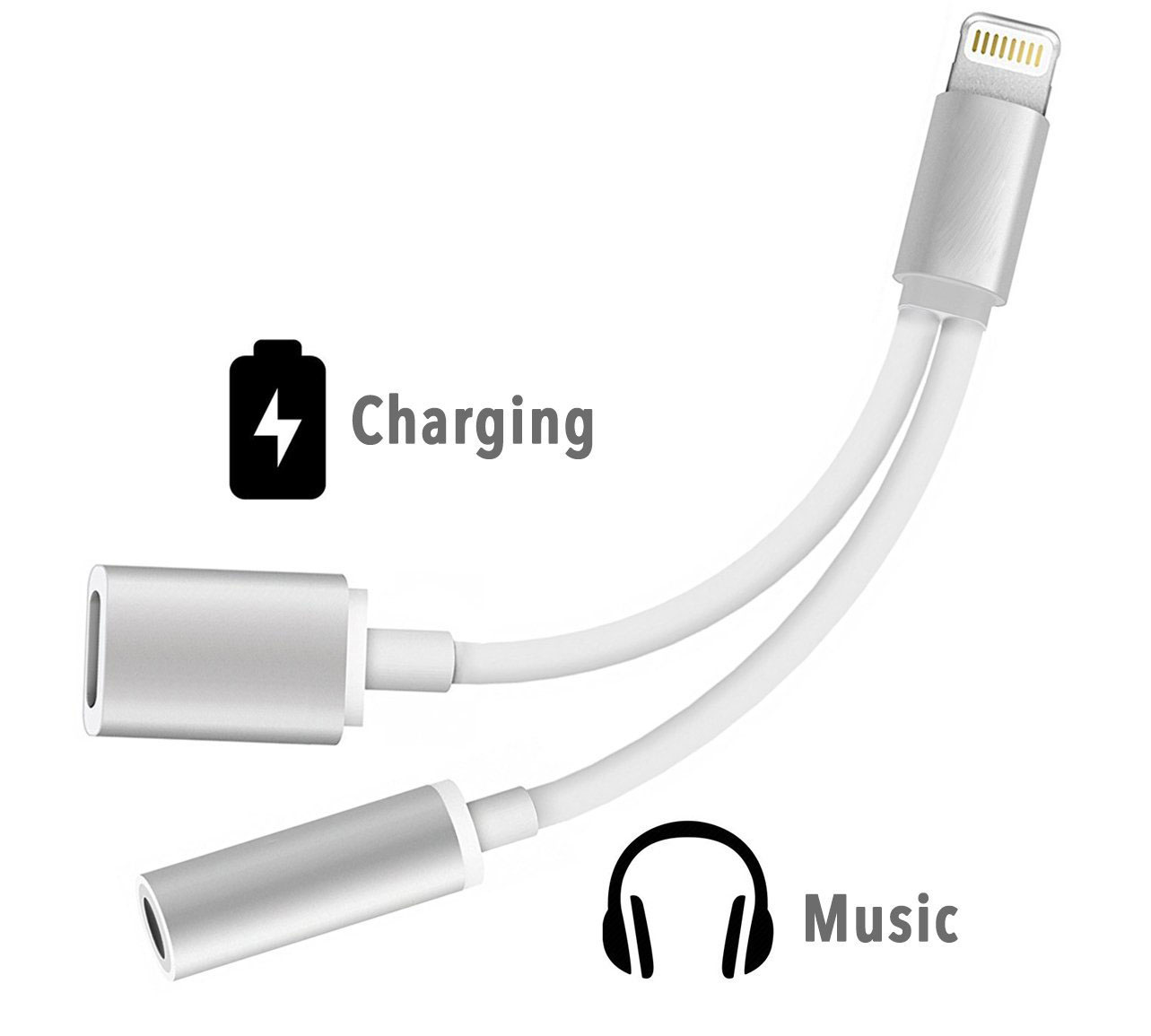 Soultronic 2-in-1 Silver/White Lightning --> 3.5mm Audio Jack Adapter & Lightning Charge (Φορτίστε | Ακούστε Μουσική)