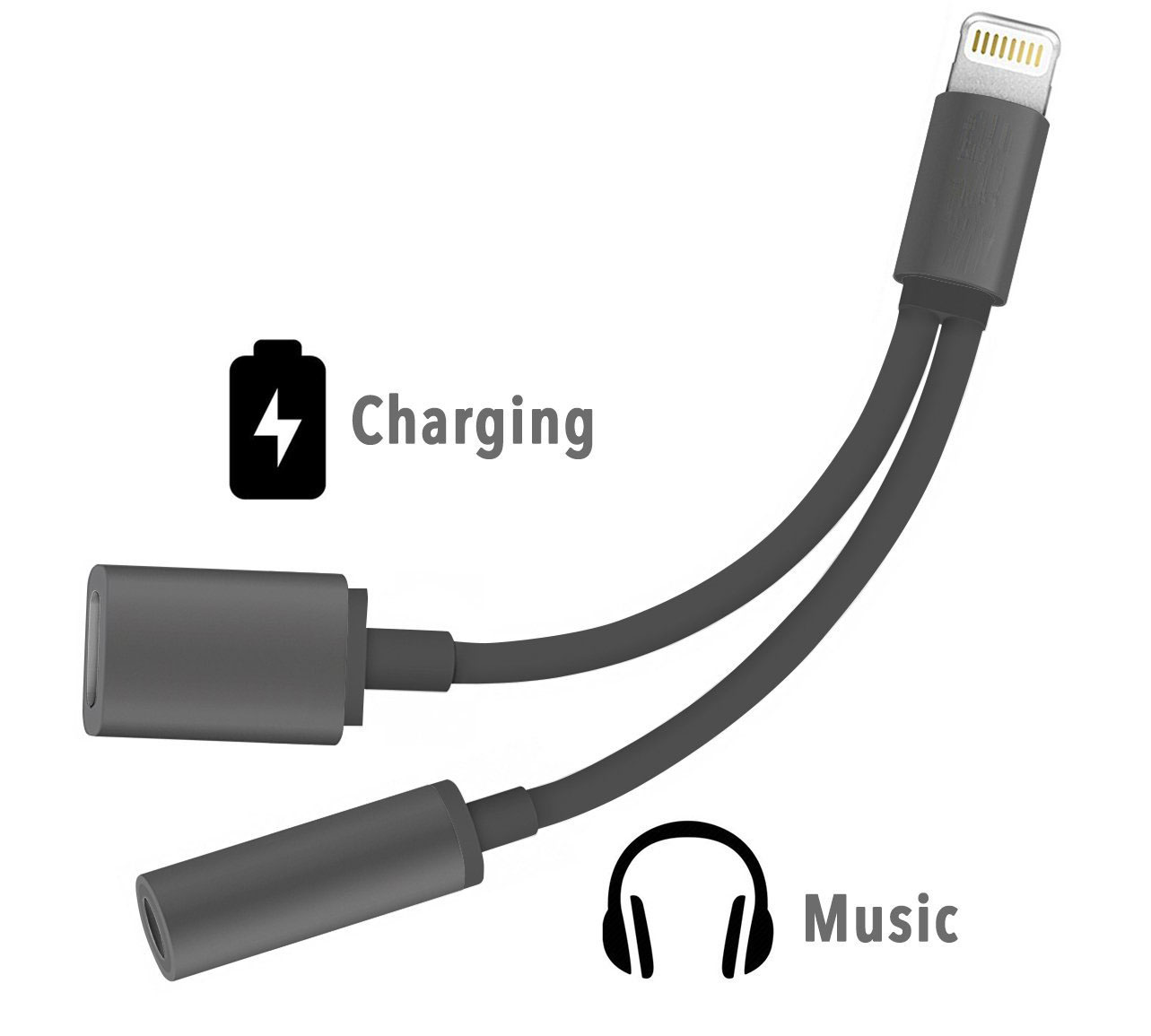Soultronic 2-in-1 Black/Black Lightning --> 3.5mm Audio Jack Adapter & Lightning Charge (Φορτίστε | Ακούστε Μουσική)
