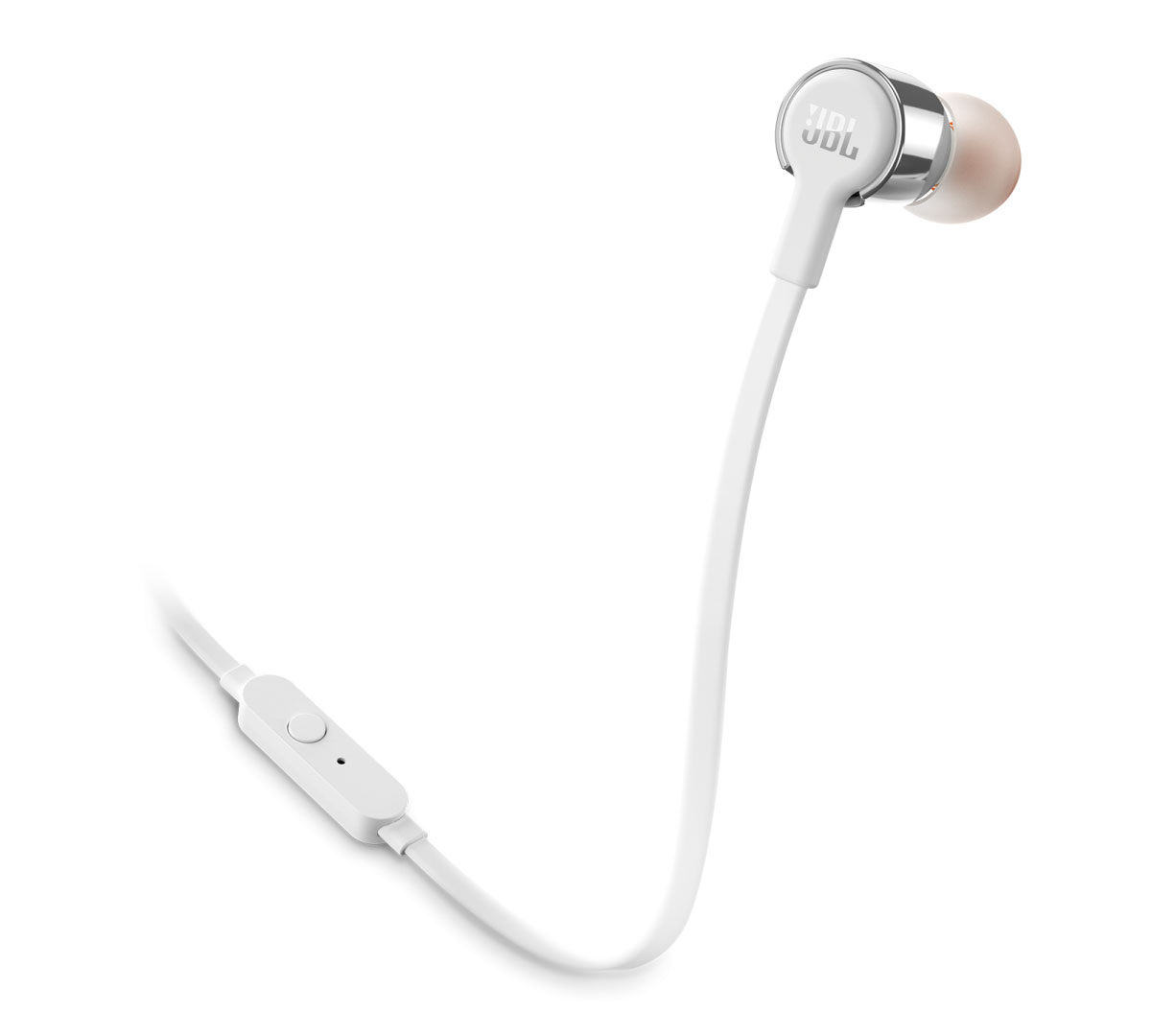 JBL T210 Grey In-Ear Headphones + JBL Pure Bass Sound + Single button remote/mic + Θήκη (κλήσεις & μουσική με flat καλώδιο)