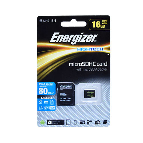 Energizer HighTech microSDHC Card + Adapter 16GB (FMDABH016A) | 80MB/s Read Speed