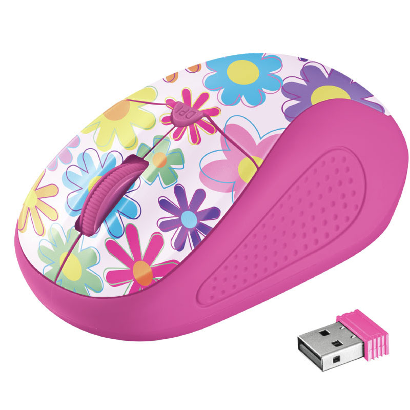 Trust 21481 Primo Wireless Mouse - Pink Flowers | Comfortable Shape | Speed Select Button | Nano Receiver