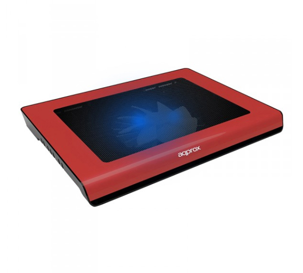 aqprox! Notebook Cooler Pad Red appNBC06R + Super Silent + Ανεμιστήρας 140mm + USB Hub