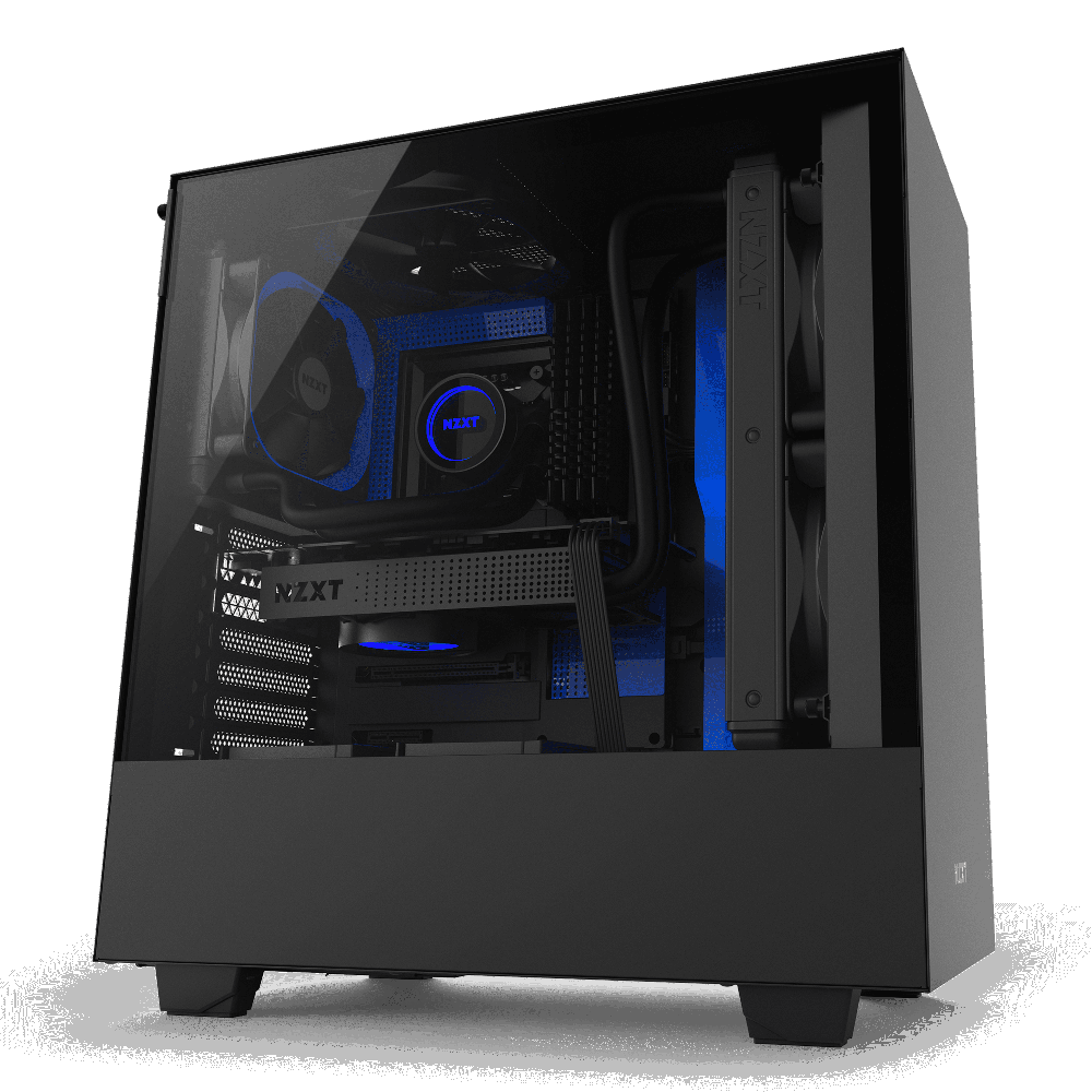 NZXT H500 Matte Black/Blue – Tempered Glass (5060301694082)