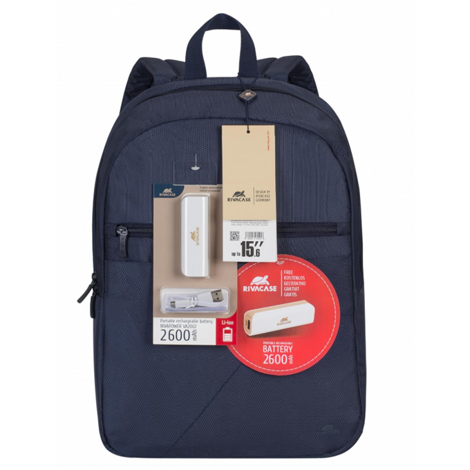 "Rivacase 8065 Dark Blue Laptop Backpack (για Laptop έως και 15.6"" + Tablet έως και 10.1"") + Δώρο Power Bank!"