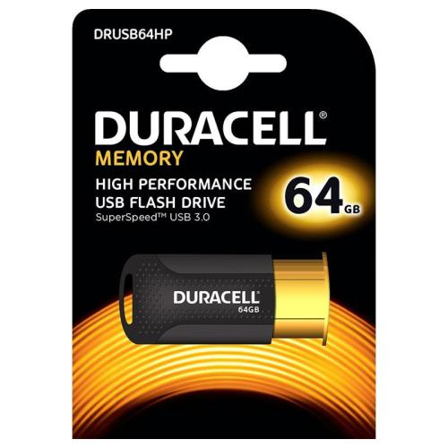 USB 3.1 Flash Disk Duracell High Performance 64GB Μαύρο-Χρυσό (5055190177273)