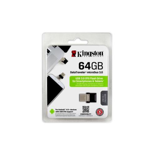 USB 3.0 Flash Disk Kingston DT Micro Duo 64GB Μαύρο (740617230833)