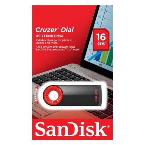 USB Flash Disk SanDisk Cruzer Dial SDCZ57 16GB Μαύρο (619659142469)
