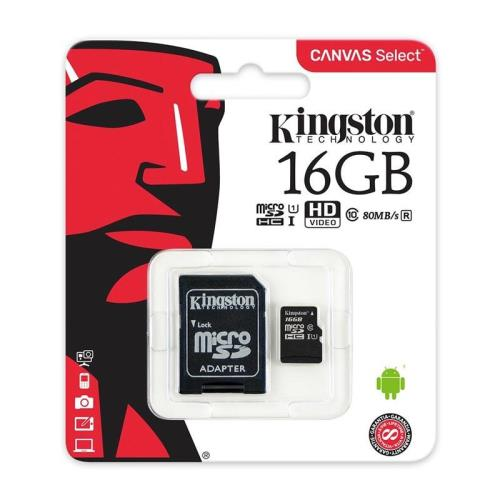 Κάρτα μνήμης Micro SDHC C10 Kingston Canvas Select 80MB/s 16Gb + 1ADP (740617274646)