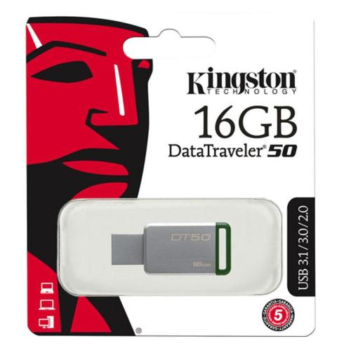 USB 3.1 Flash Disk Kingston DT50 16GB Ασημί-Πράσινο (740617255638)